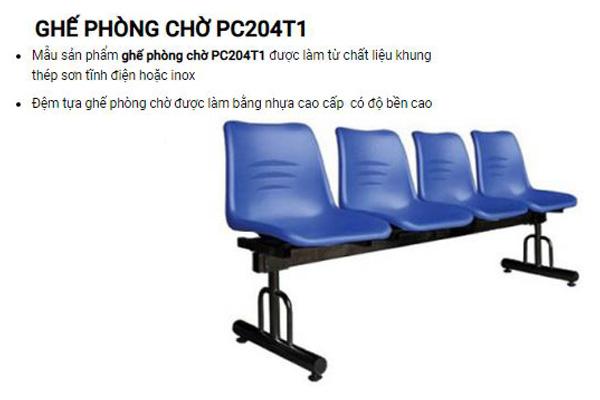 Ghế phòng chờ chân sắt đệm nhựa PC204T1
