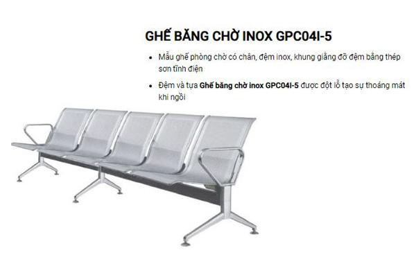 Ghế phòng chờ Inox 5 chỗ GPC04I-5