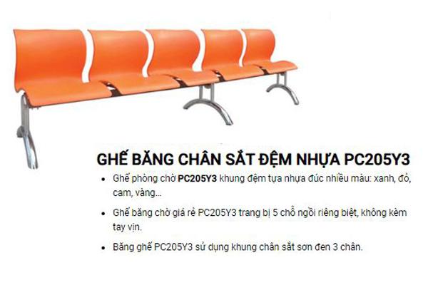 Mua ghế phòng chờ 5 chỗ ngồi PC205Y3 tại TpHCM